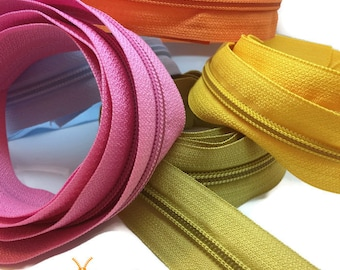 Continuous Zip Chain No 5 Weight - Upholstery N5 zipping - 1, 2 or 5 meter lengths in 29 colours!!! 2 slides per meter ordered!
