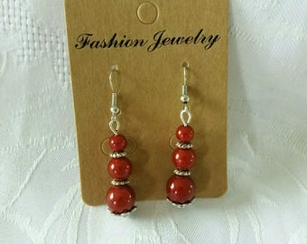 Trio of red beads earrings