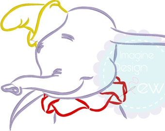 Baby Elephant Silhouette Sketch Inspired  machine embroidery design Instant Download 5x7 6x10