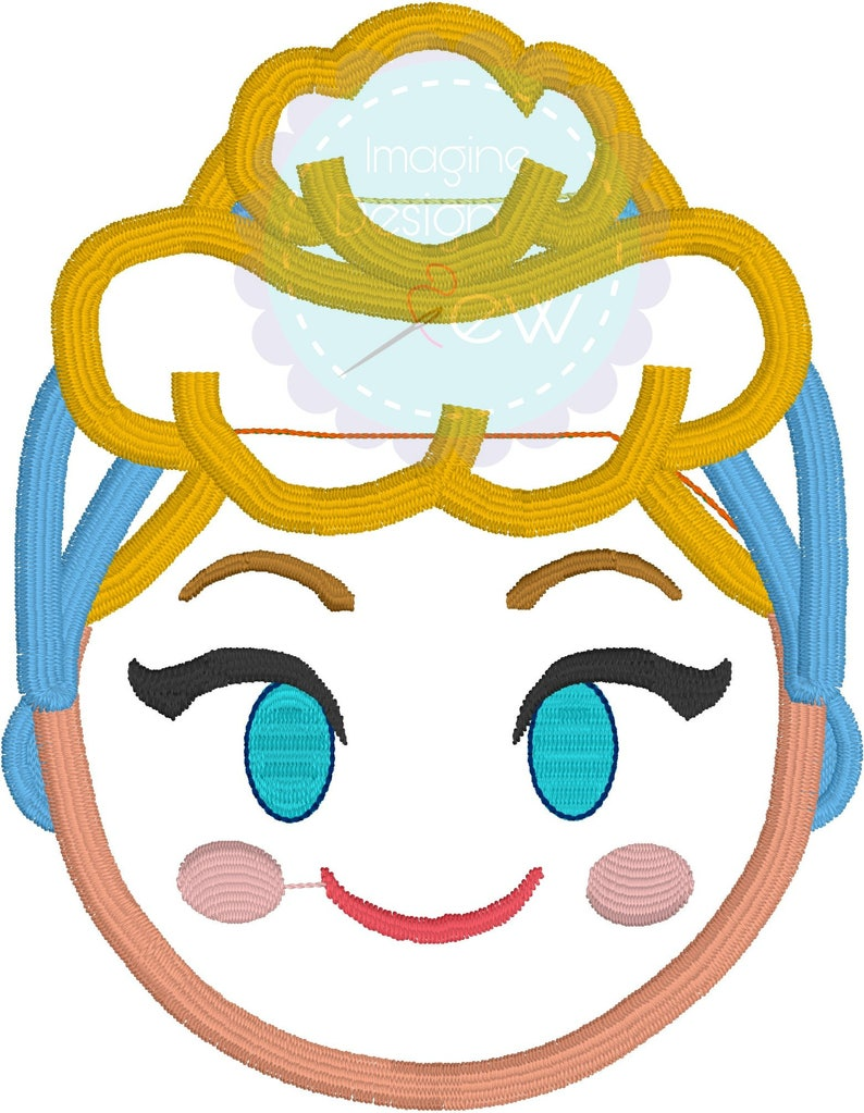 Blond Princess Emoji machine embroidery applique design Instant Download  4x4 5x7 6x10 Embroidery Pattern