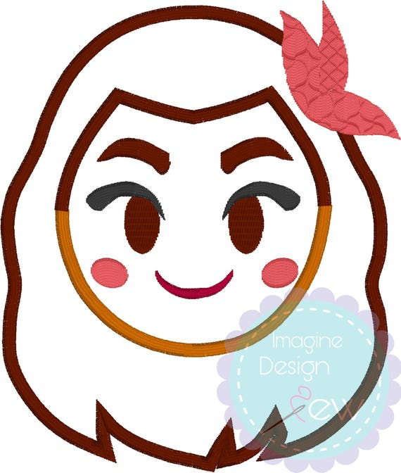Ocean Princess Emoji name tag machine embroidery applique design Instant  Download 4x4 5x7 6x10 Embroidery Pattern