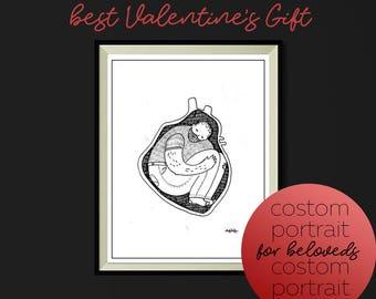 Custom Portrait/ Portrait/ Valentin's Day/ Gift/  Original Art/ Graphic Art/ Valentin's Day Gift/ 14 February/ Anniversary gift/ Love