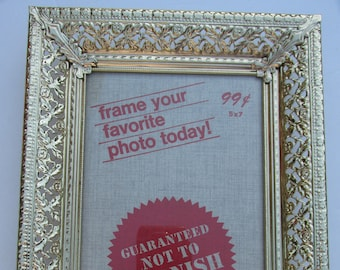 5x7 Gold Tone Ornate Picture Frame Easel Back