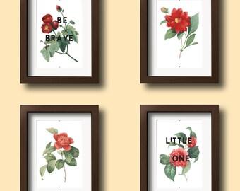 Floral Nursery Decor - Floral Nursery Art - Anemone Nursery - Girls Nursery Prints - Boy Nursery Prints - Digital Download 8x10 - Set