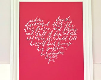 Uplifting modern calligraphy art print featuring quote by Mark Anthony, inspiring gift for her, home decor unframed print
