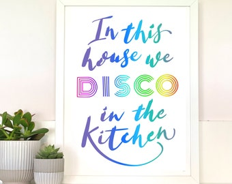 Blue and multi-coloured rainbow Disco art print for home, wall decor print for the kitchen, 80's print wall decor