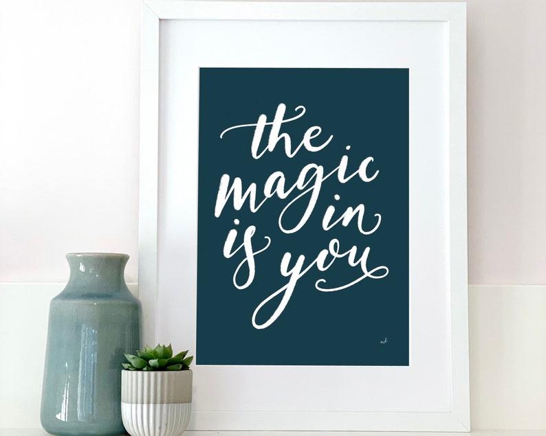 Inspiring handwritten print for the home art print for wall Teal