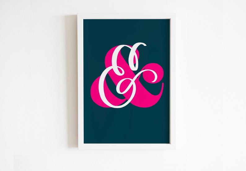 Ampersand '&' artwork print for any wall or gift for Teal