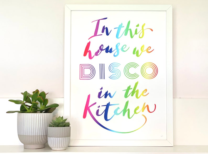 Colourful rainbow Kitchen Disco art print for home rainbow image 0
