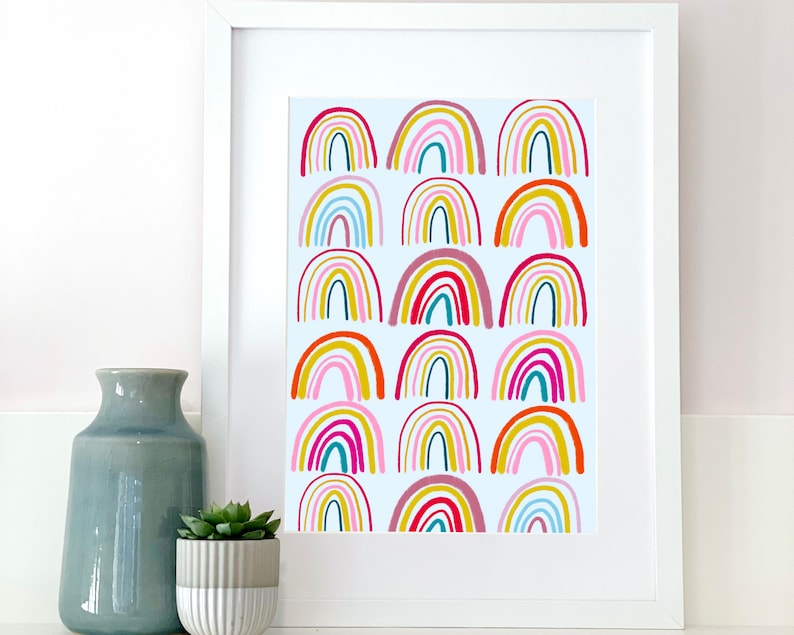 Bright colourful multi rainbow print for home love rainbow image 0