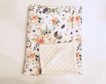 Custom minky/minky or cotton/minky blanket minky bubble 28 x 36 inches baby girl baby accessories