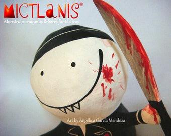 Little chef, creepy Cook, chef Monster, papier mache, handmade Art Toy. Art doll, Little Cook, original character. Ooak