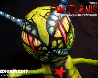 Creepy monster, Insect, Paper mache, handmade Art Toy. Art Monster, insect, original character, papier mache. Ooak