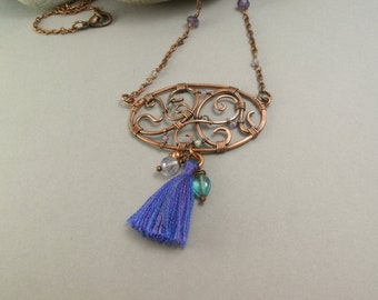 Boho copper necklace wirewrapped amethyst apatite purple tassel romantic