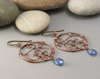 Chandelier Arabesque copper earrings wirewrapped
