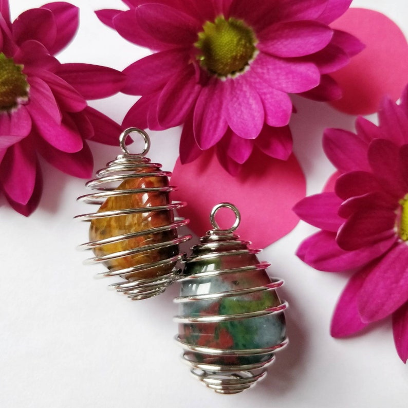 wire wrapped fancy jasper necklace Spiral crystal necklace