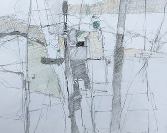 Mixed media drawing 'Wall and hedgerow, Exmoor'.