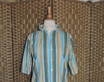 e9c970ebed853 Vintage Blouse BOBBIE BROOKS Size M Blue Striped Short Sleeve Cotton 1980s