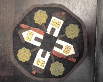 candlemat, wool, houses, victorian, cottage