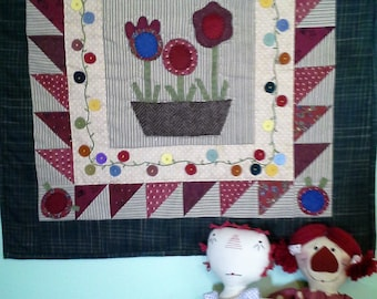 wall hanging, quilted, wool applique, country, floral