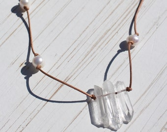 Natural Quartz Crystal and Freshwater Pearl Long Necklace