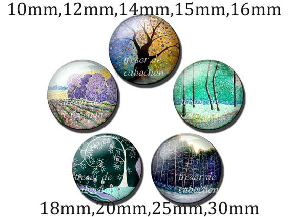 6 différents Steampunk-Verre-cabochons 18mm