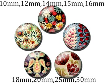 5pcs Y431 Cabochons manual diameter of 10mm 12mm 14mm 15mm 16mm 18mm 20mm 25mm-30mm Fleur Vintage, Elegant