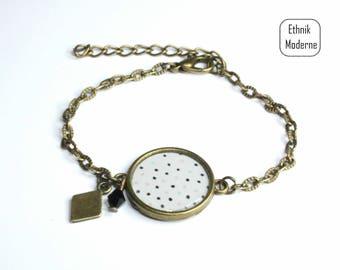 Resin cabochon bracelet with polka dots