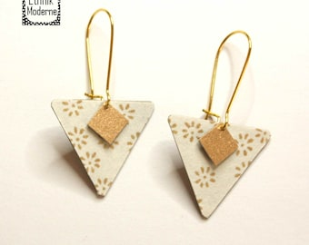 White and gold triangle earrings
