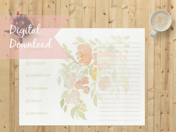 photograph relating to Week at a Glance Templates named 3 Floral Planner Templates 7 days-at-a-Glimpse: Immediate Electronic Down load