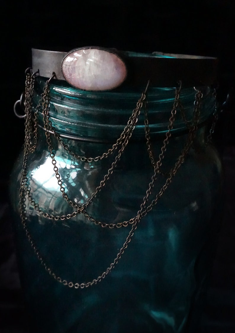 Ophelia Blackened Copper Collar Dendritic Agate Metal Collar Moonstone