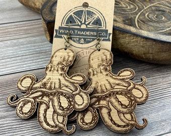 Wooden Earrings, Wood Earrings, Octopus Earrings, Wooden Dangle Earrings