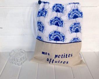 Lingerie bag. Lingerie bag. Blue lingerie bag. Blue and white lingerie bag. Blue flowers lingerie bag.