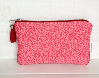 Phone pouch. Liberty Glenjade sorbet pouch. Padded pouch. Makeup pouch. Pink pouch. Floral clutch.