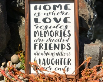Wood sign with saying  Home is Where Love Resides wood sign  home decor farmhouse style gift for her gift for mom rustic decor  wall decor
