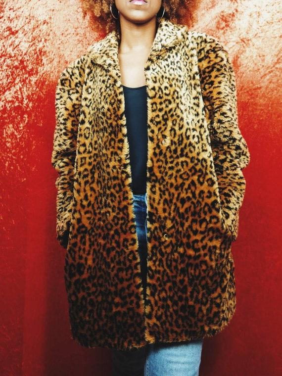Faux Fur Leopard Print Coat | Vintage 90s