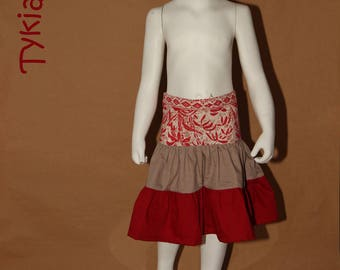 Skirt 3 ruffle taupe and pink/red - 3 years