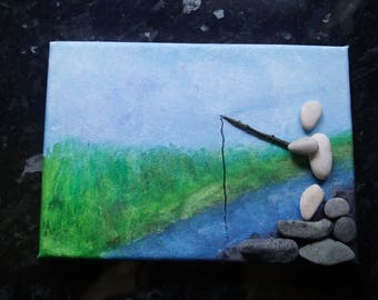 By the river. Acrylic on canvas picture with pebble art. Unique gift for someone who likes fishing