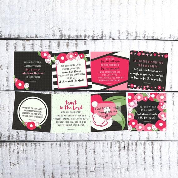 esv girls scripture cards tween teens pink floral truth etsy