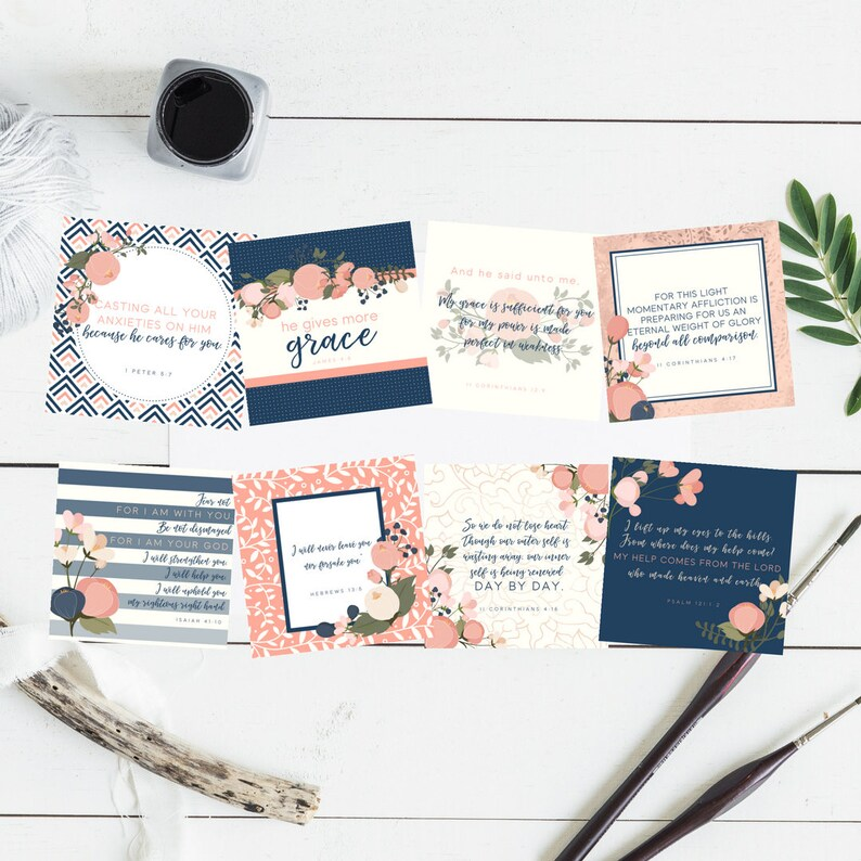 Printable ESV Navy Floral Square Scripture Card Set 8 Instant Download  Printable Bible Verses Trials Comfort