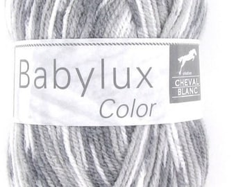 Wool Babylux Color grey mix color No. 400 white horse