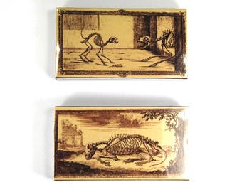 TWO Boxes of Decorative Matches Skeleton Pets Cat Dog Horse Vintage Style Print Sepia 50 100 Matchbox Match Box Novelty