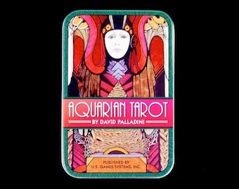 Aquarian Tarot Card Deck in a Tin by David Palladini Art Nouveau Pocket Deck Deco