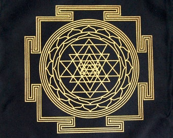 Crystal Grid Cloth SRI YANTRA Maha Meru 12 Inch Square Black Gold 100% Cotton Gridding Lightwork Cloths