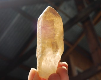 """83g 3.25"""" Tangerine Lemurian Seed Crystal Minas Gerais Brazil Calcite Covered Encrusted Large Key Dreamsicle Druze"""