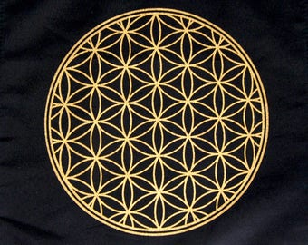 Crystal Grid Cloth FLOWER OF LIFE 12 Inch Square Black 100% Cotton Gridding Lightwork Cloths