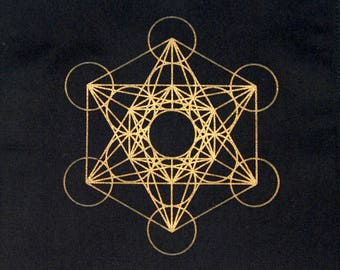 Crystal Grid Cloth METATRONS CUBE 12 Inch Square Gold Black 100% Cotton Gridding Lightwork Cloths