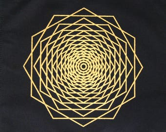 Crystal Grid Cloth DODECA FRACTAL 12 Inch Square Black 100% Cotton Gridding Lightwork Cloths