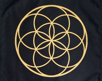 Crystal Grid Cloth SEED OF LIFE 12 Inch Square Black 100% Cotton Gridding Lightwork Cloths