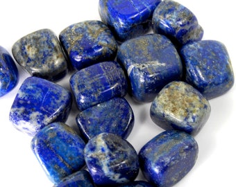 "LAPIS LAZULI Tumbled Stone 1 or 6 Stones Wholesale Natural Crystal Medium .75-1.25"" Crystals Courage Insight Self Confidence Pakistan"